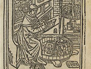 Kloosterling in scriptorium van titelblad 'Instructio virorum ecclesiasticorum' van J. Amelius